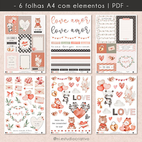 Com Amor | Papéis para Scrapbook A4