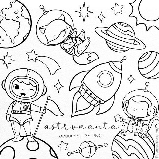 Kit Digital P&B | Astronauta