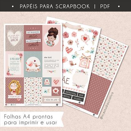 Papéis para Scrapbook   Dia das Mães