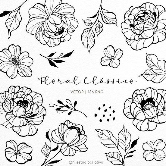 Kit Digital Floral Clássico