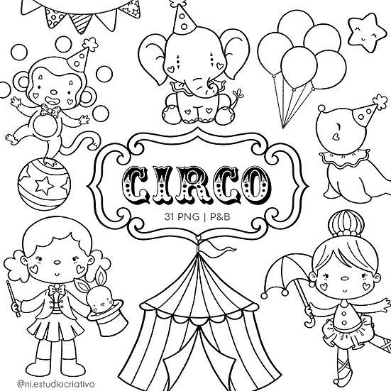 Kit Digital P&B   Circo Rosa