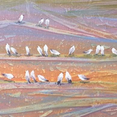 """""""Bird Island"""" 24 x 24 Acrylic / Collage"""