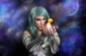 Psychic with green hair and Crystal Ball