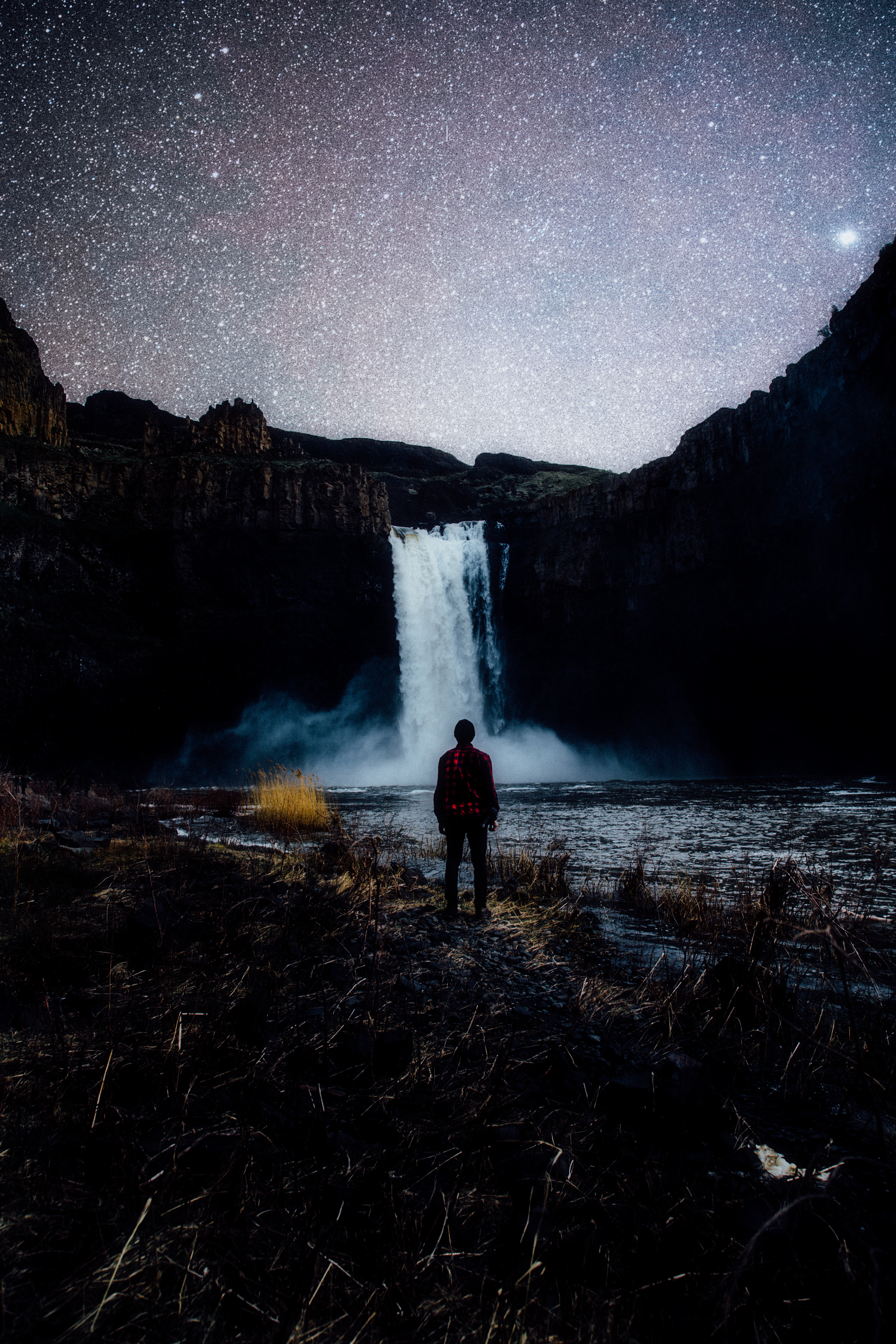 stars and waterfall
