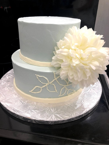 Blue 2 Tier wedding