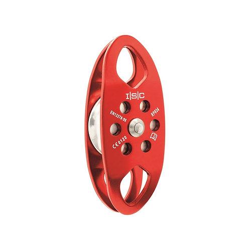 Polea sencilla mediana con dos punto de anclaje de aluminio para cuerda de 13mm