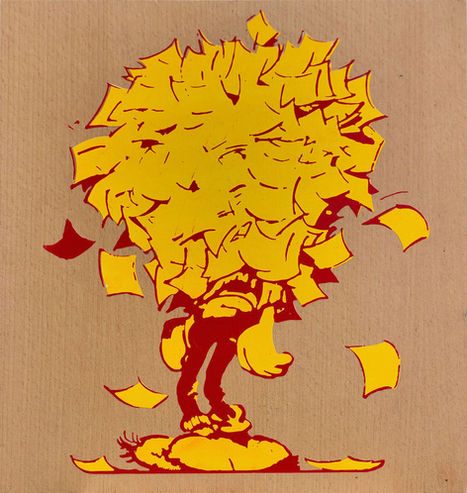 gaston-lagaffe-painting-papers-around-he