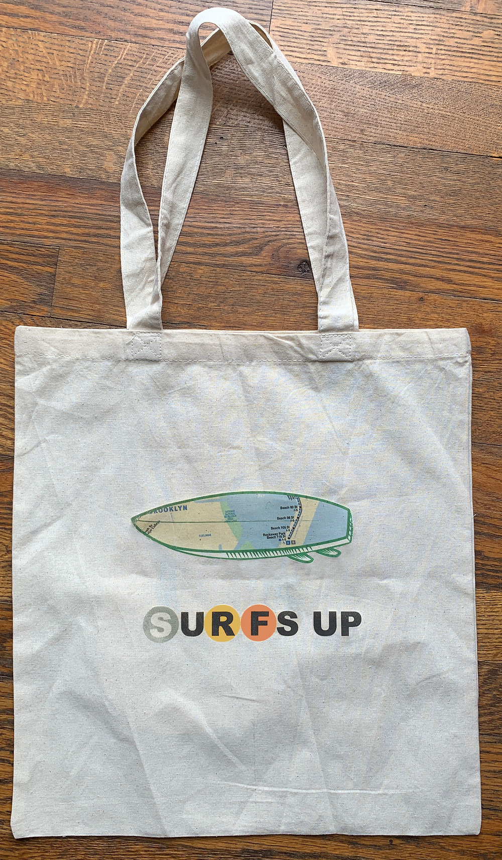 surfs up nyc graphic tote bag