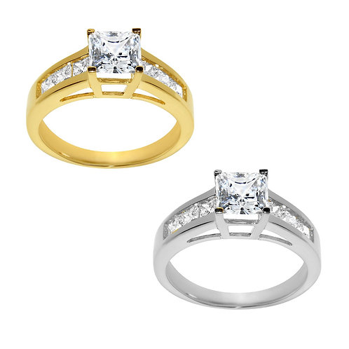 14k Yellow or White Gold 1 3/4ct TGW Princess-cut Diamonette Engagement Ring