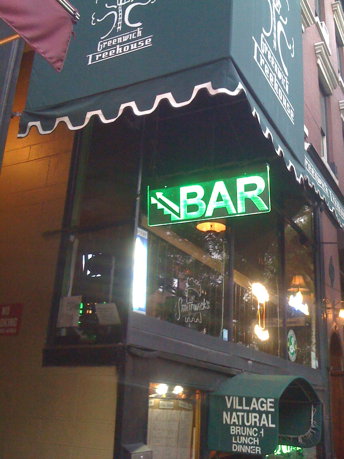 Bar sign glowing