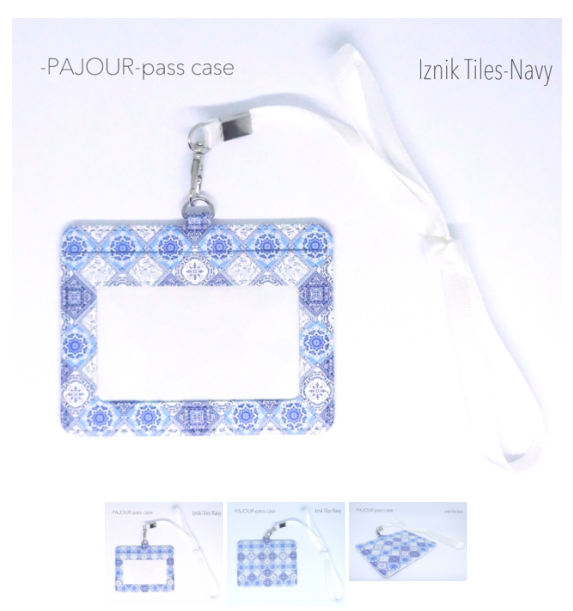 pajour ) イズニックタイル柄 パスケース( ネイビー )( 濃紺