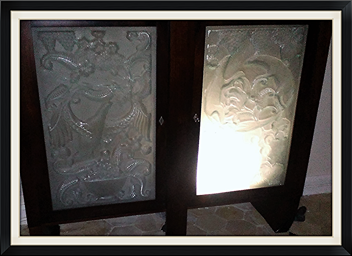 Art Deco Buffet Moulded Glass Panels