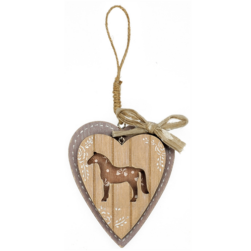 Happy Ross Wooden Small Horse & Heart Sign