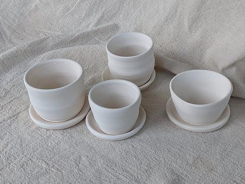 Bisque Flower Pot Set of Four