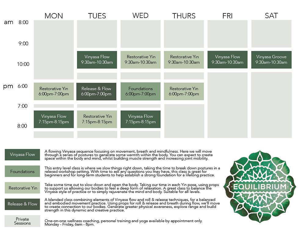 Equilibrium 19 September 2020 timetable.