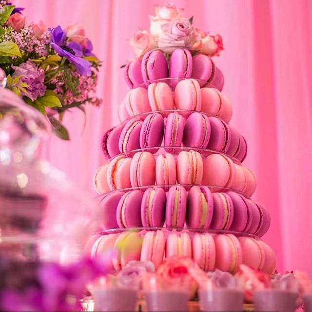 Pink and purple macaron tower