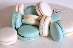 Baby shower blue and white macarons