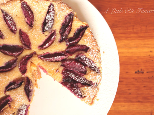 Blood Plum and Almond Tart