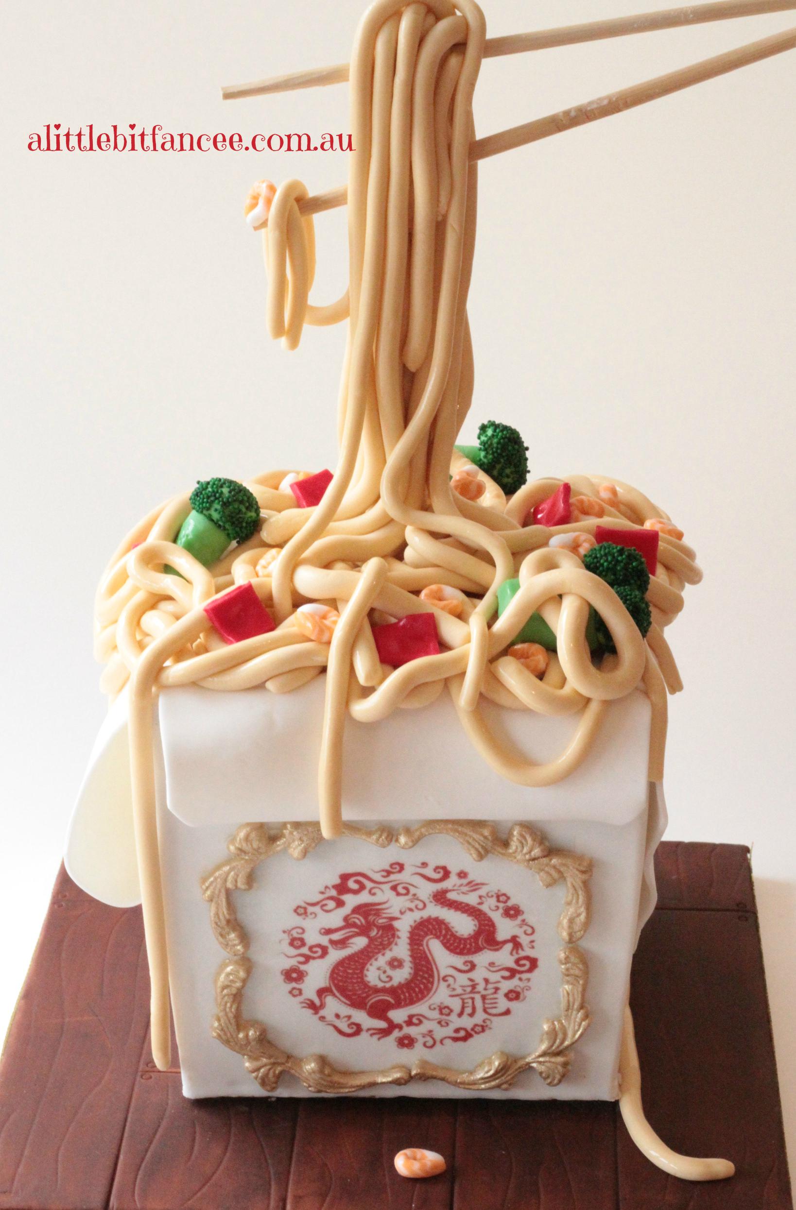 3D noodle Box cake