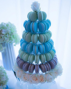 Blue green and grey macaron tower