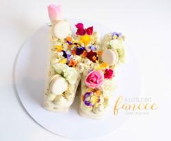 Pistachio Macaron Letter Cake