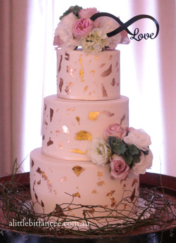 Gold foil and fresh flowers wedding