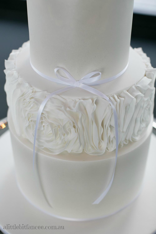 Ruffle white on white cake