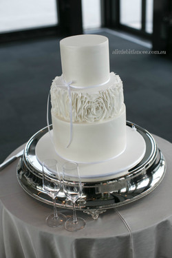 White shimmer ruffle wedding