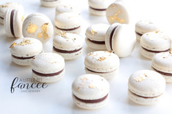 Chocolate Macarons with Edible Gold Leaf