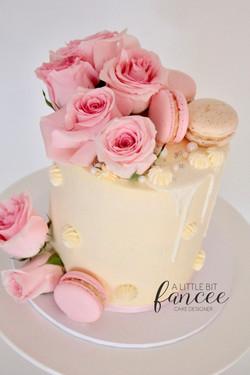 White and Pink Drip Cake