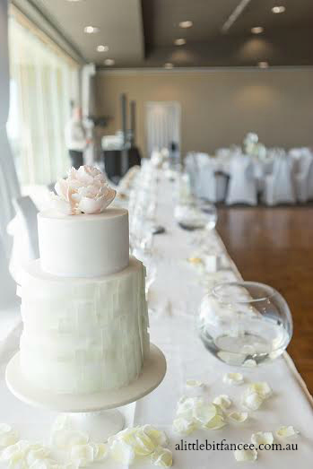 Mint wafer paper wedding cake