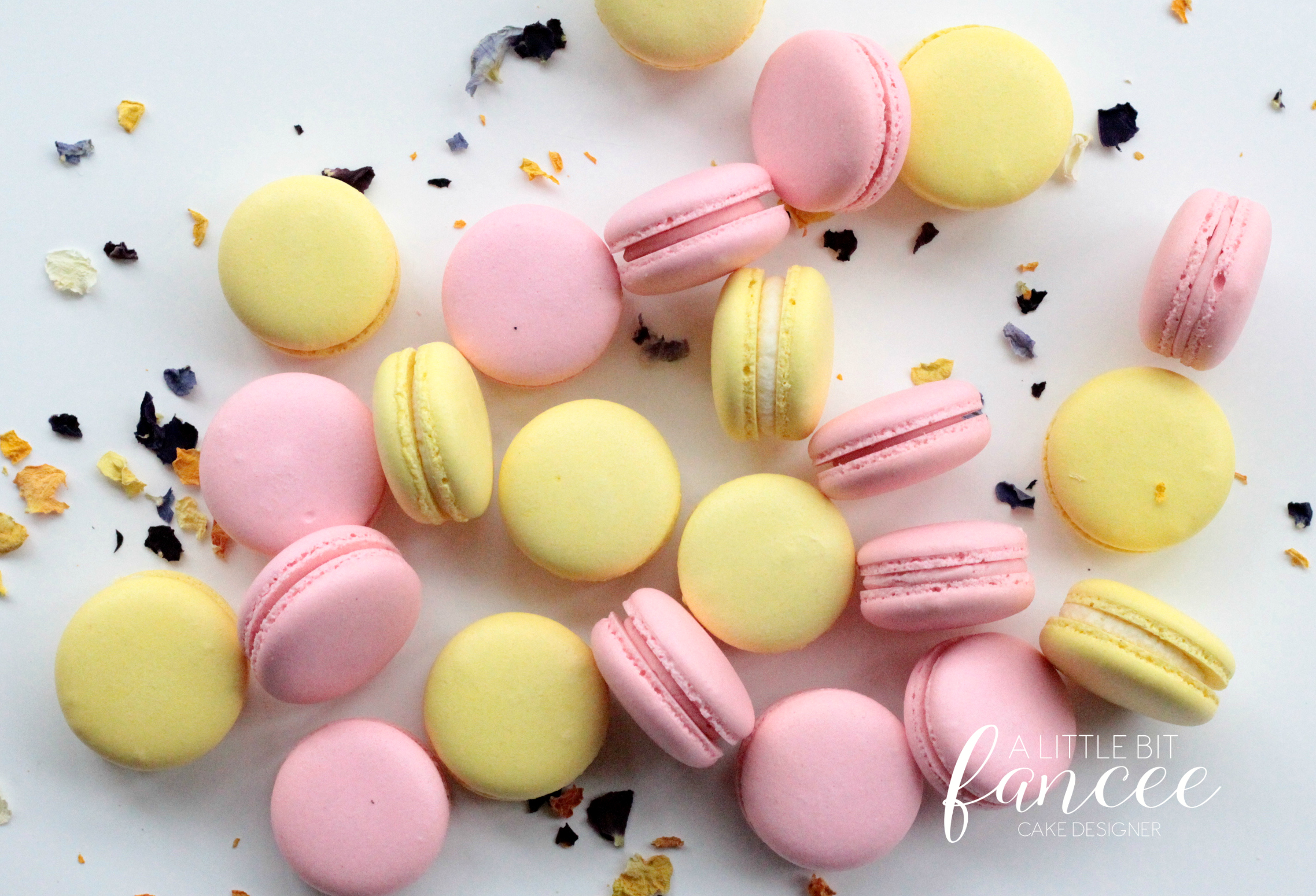 Pink and yellow macarons