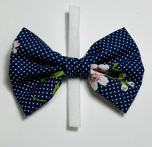 Navy Dots with Pink Flowers