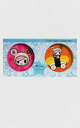 TDxAN Pink Sakura & Sushi Car Ceramic Coaster Set