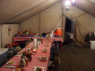 Mountain States Guide Service cook tent, dinner salads