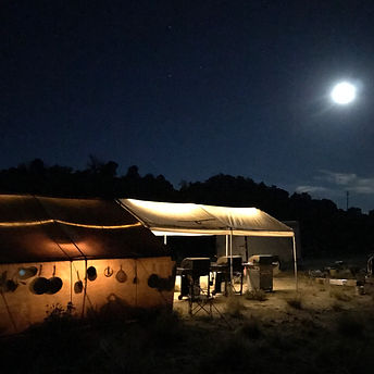 cook tent at night