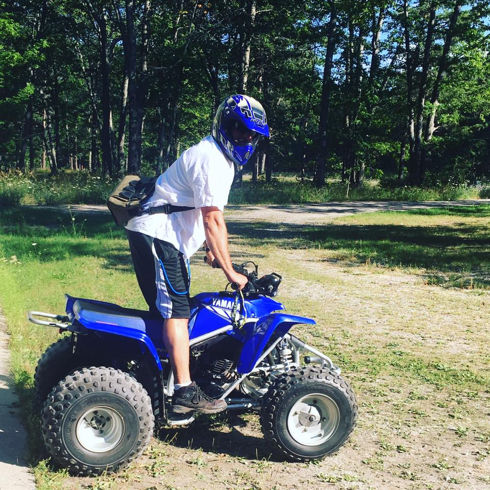 Gunner on his Yamaha Blaster four-wheeler