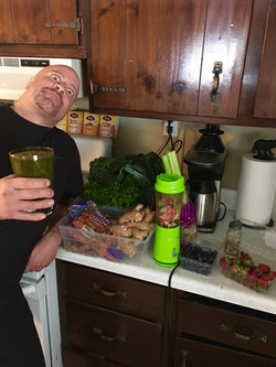 Gunner the Health Nut making smoothies