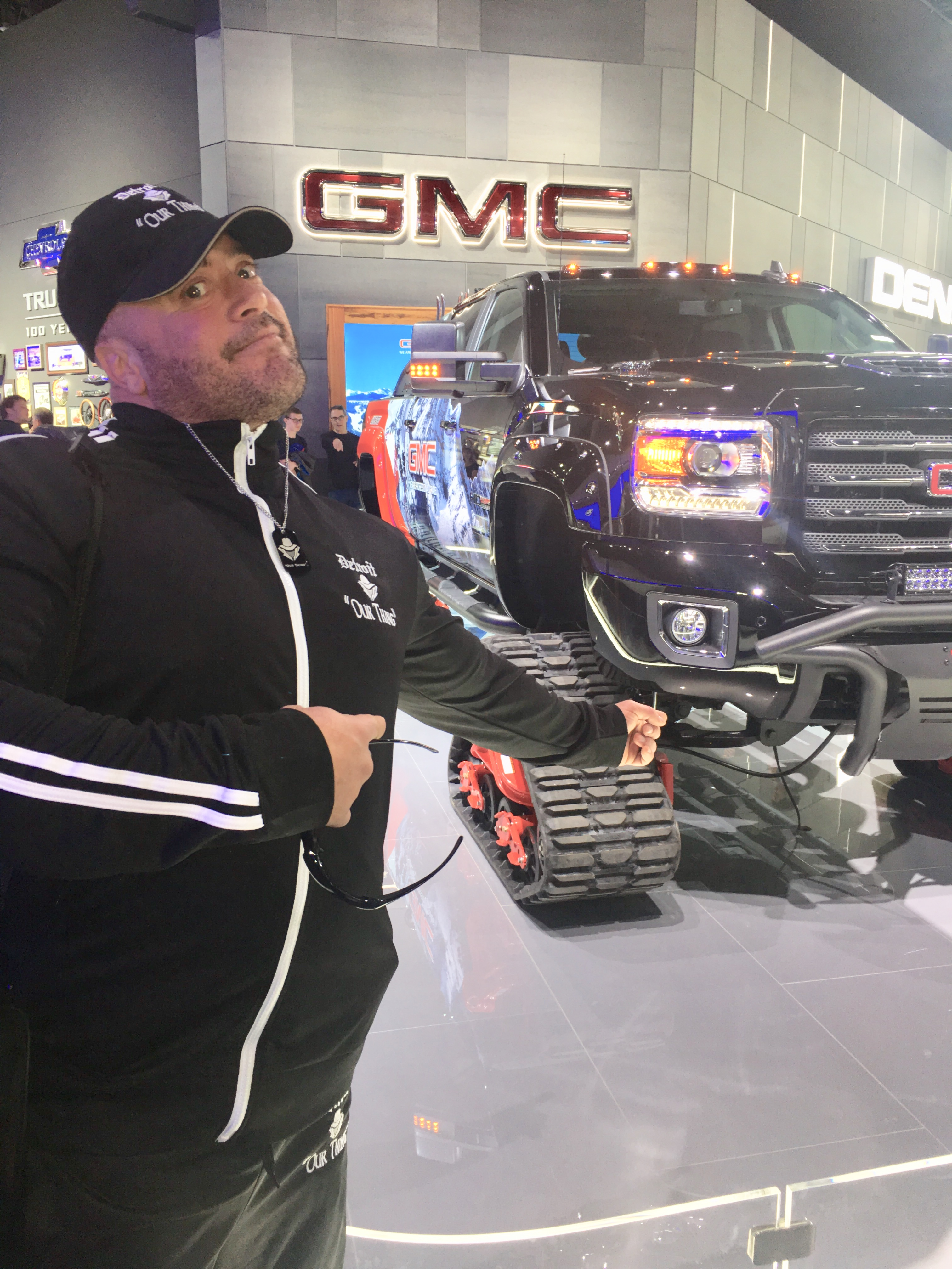Gunner with a GMC track snow truck
