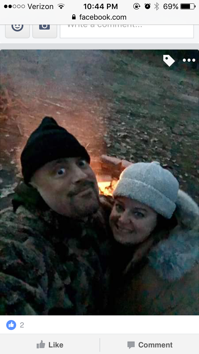 Gunner and Maria with a winter campfire