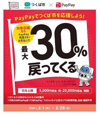 2021/2/28終了。PayPay 30%戻ってくるキャンペーン開催中‼