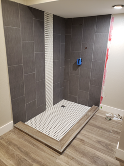 Shower with Waterfal Accent