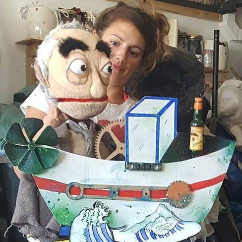 Sir David in his boat, Tanya.__#puppet #