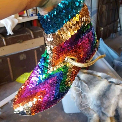 Sequin tap boots