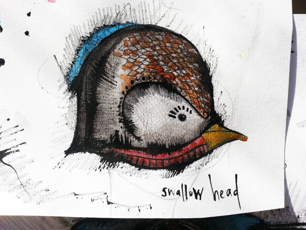 Swallow head drawing