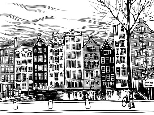 Damrak Avenue of Amsterdam, Netherlands