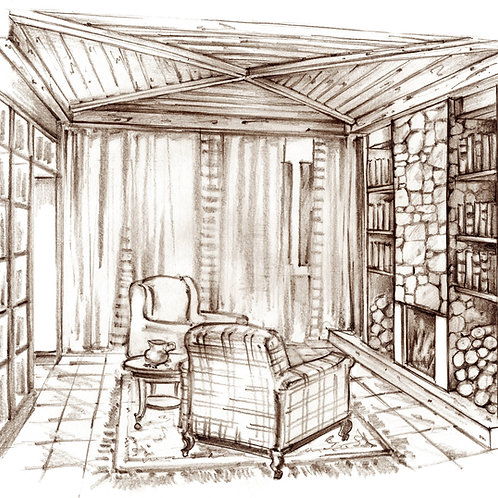 Traditional Library. Hand-drawn Pencil Sketch