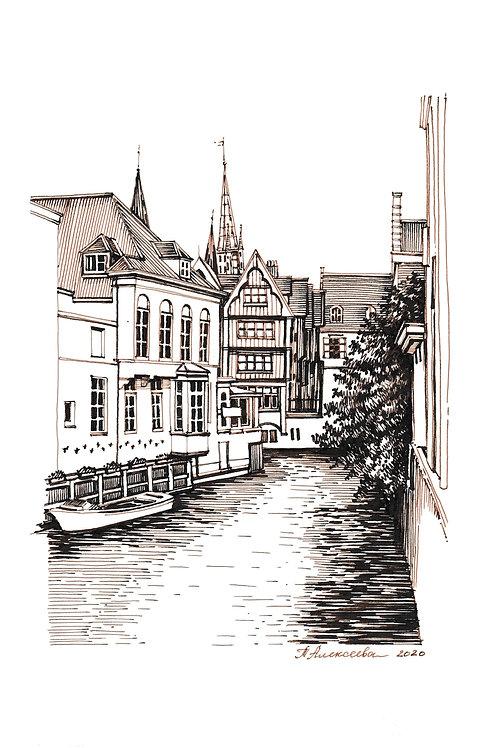 Dijver canal in Bruges, Belgium.