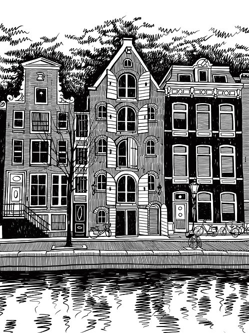 Old streets, houses and canals of Amsterdam, Netherlands.