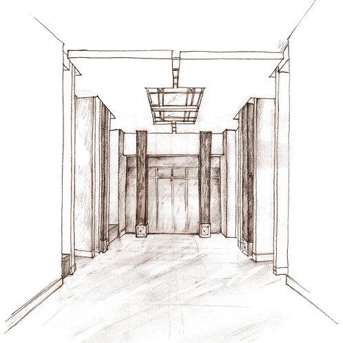 Modern Hallway. Interior Design Sketching